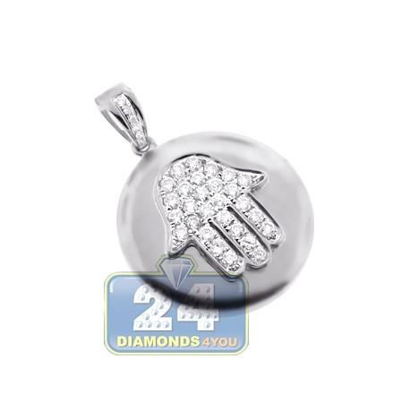 Mens Women Diamond Hamsa Medallion Pendant 14K White Gold