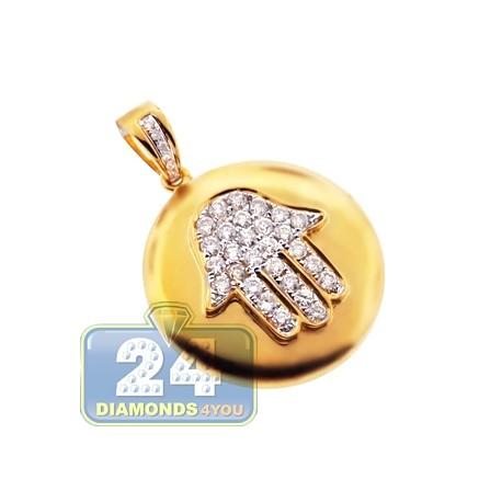 Mens Women Diamond Hamsa Medallion Pendant 14K Yellow Gold