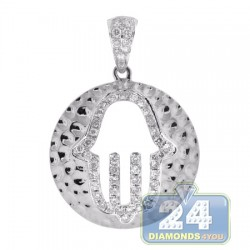 14K White Gold 0.62 ct Diamond Hamsa Hammered Pendant