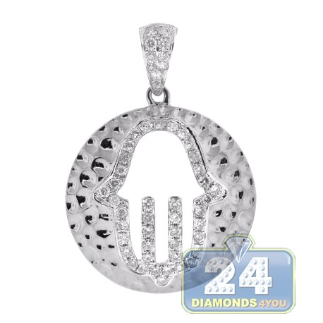 Mens Womens Diamond Hamsa Hammered Pendant 14K White Gold