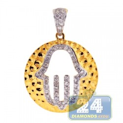 14K Yellow Gold 0.62 ct Diamond Hamsa Hammered Pendant