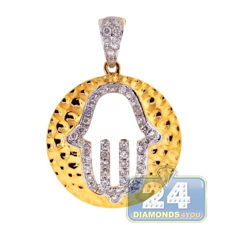 Mens Womens Diamond Hamsa Hammered Pendant 14K Yellow Gold