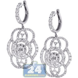 14K White Gold 7.22 ct Diamond Womens Dangle Earrings 2 inch