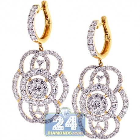 Womens Diamond Dangle Earrings 14K Yellow Gold 7.17 ct 2 inches