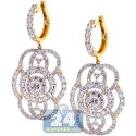 14K Yellow Gold 7.17 ct Diamond Womens Dangle Earrings 2 inch