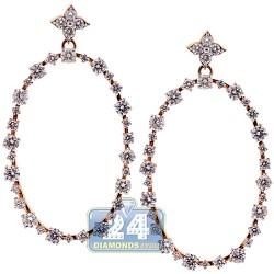 18K Rose Gold 3.91 ct Diamond Womens Oval Dangle Earrings
