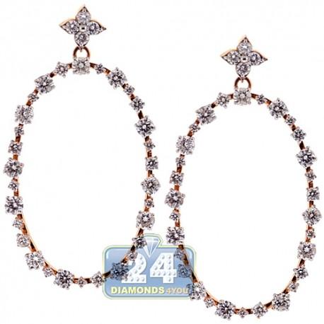 Womens Diamond Oval Open Dangle Earrings 18K Rose Gold 3.91 ct