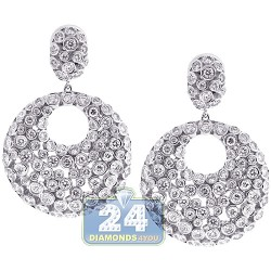 18K White Gold 6.67 ct Bezel Diamond Round Dangle Earrings