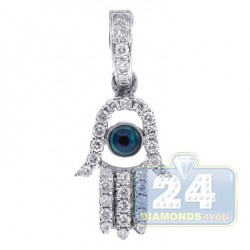 14K White Gold 0.23 ct Diamond Evil Eye Hamsa Pendant