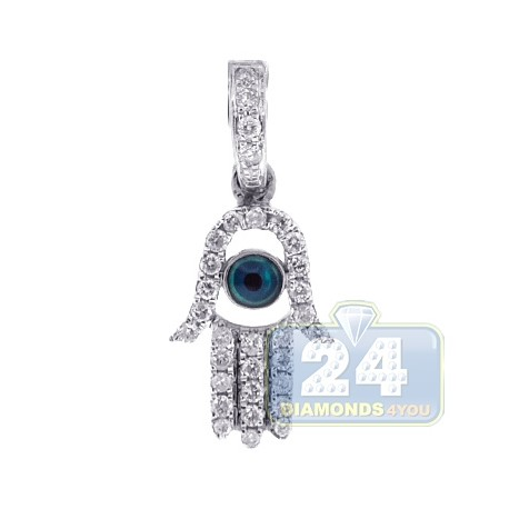 Mens Womens Diamond Evil Eye Hamsa Hand Pendant 14K White Gold