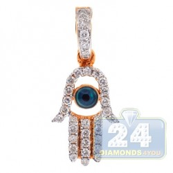 14K Rose Gold 0.23 ct Diamond Evil Eye Hamsa Pendant