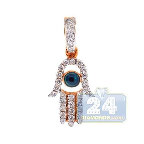 Mens Womens Diamond Evil Eye Hamsa Hand Pendant 14K Rose Gold