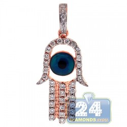 14K Rose Gold 0.50 ct Diamond Evil Eye Hamsa Pendant