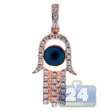 Mens Womens Diamond Evil Eye Hamsa Pendant 14K Rose Gold 0.50ct