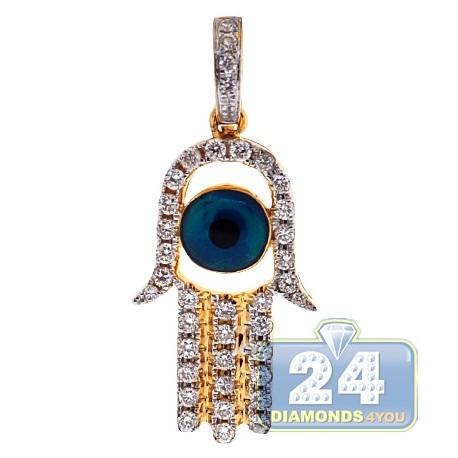 Mens Womens Diamond Evil Eye Hamsa Pendant 14K Yellow Gold .5ct
