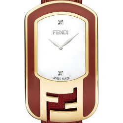 F317434073D1 Fendi Chameleon Red Enamel Womens Yellow Gold Watch 29 mm