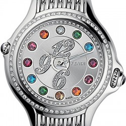 F105036000B3 Fendi Crazy Carats Diamond Bezel Silver Dial Watch 38mm