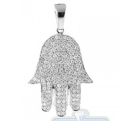 14K White Gold 1.25 ct Diamond Hamsa Hand Jewish Pendant