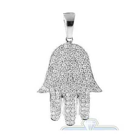Mens Diamond Pave Hamsa Jewish Pendant 14K White Gold 1.25ct