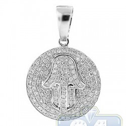 14K White Gold 0.73 ct Diamond Hamsa Hand Round Pendant