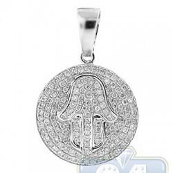 14K White Gold 0.73 ct Diamond Hamsa Jewish Pendant