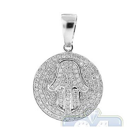 Womens Diamond Hamsa Hand Round Pendant 14K White Gold 0.73ct
