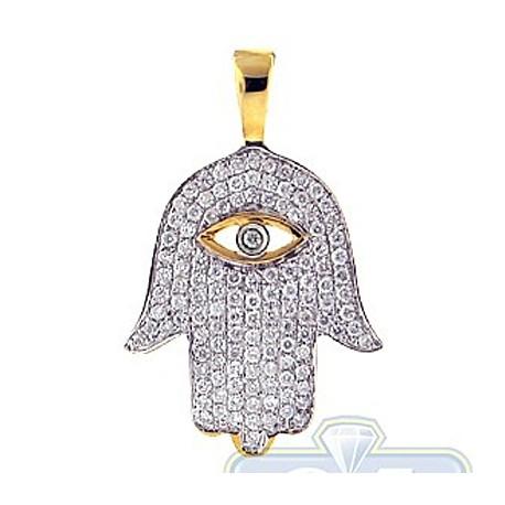 Diamond Evil Eye Hamsa Hand Jewish Pendant 14K Yellow Gold .59ct