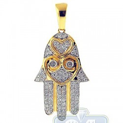 14K Yellow Gold 0.46 ct Diamond Heart Hamsa Hand Pendant