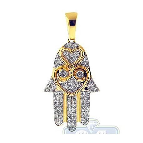Womens Diamond Heart Hamsa Hand Pendant 14K Yellow Gold 0.46ct