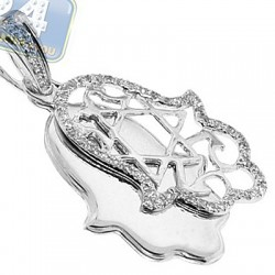 14K White Gold 0.21 ct Diamond Hamsa Hand Double Pendant