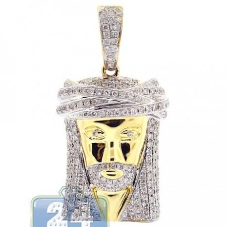 Mens Diamond Jesus Head Face Pendant 14K Yellow Gold 1.89ct
