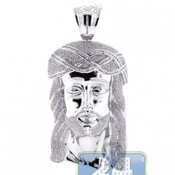 10K White Gold 13.04 ct Diamond Jesus Christ Head Face Pendant