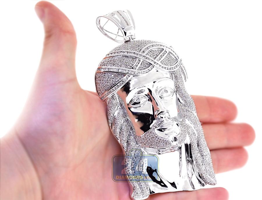 Men diamond jesus christ head pendant 10k white gold 1304ct 55 aloadofball Gallery