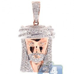 14K Rose Gold 1.83 ct Diamond Jesus Christ Head Face Pendant