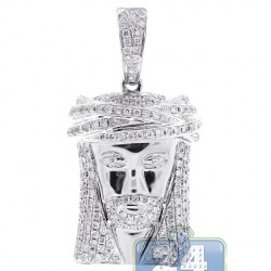 Mens Diamond Jesus Head Face Pendant 14K White Gold 1.84ct