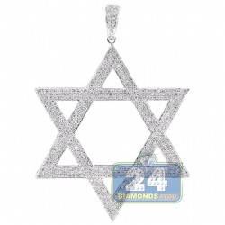 Mens Diamond Star of David 3D Pendant 14K White Gold 8.34 ct 3""
