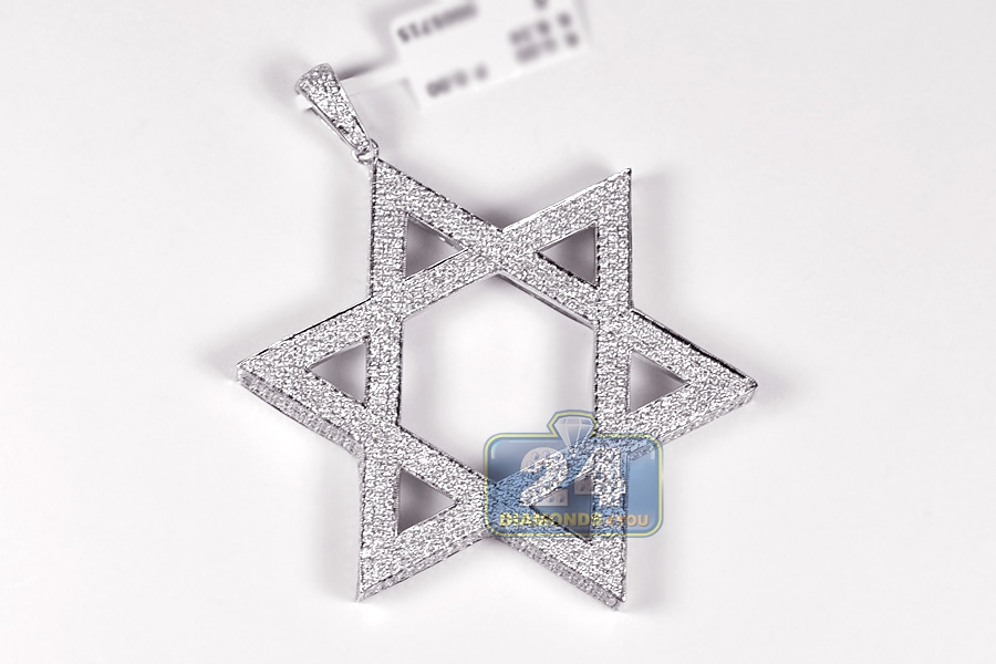 7a33965525be0 14K White Gold 8.34 ct Diamond Star of David 3D Pendant