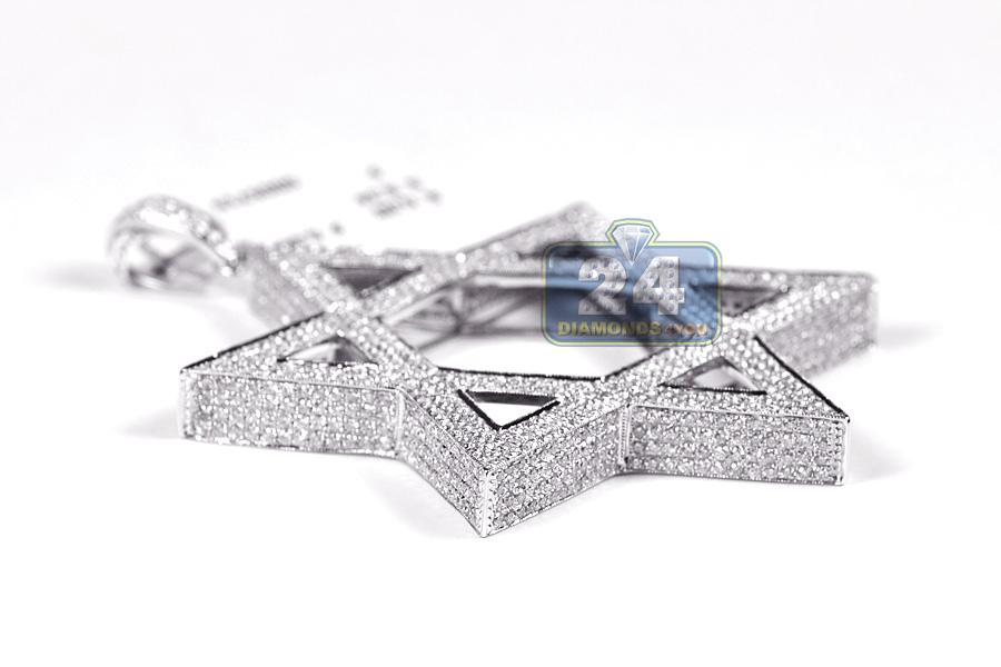 Mens Diamond Star Of David 3d Pendant 14k White Gold 8 34