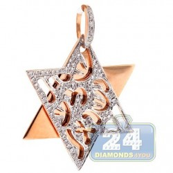 Mens Womens Diamond Star of David Open Pendant 14K Rose Gold