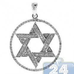 Mens Diamond Star of David Round Pendant 14K White Gold 0.68ct