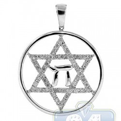 Mens Diamond Chai Star of David Pendant 14K White Gold 1.14ct