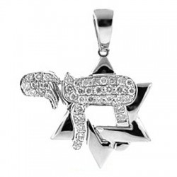 Mens Womens Diamond Star of David Chai Pendant 14K White Gold