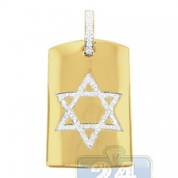 14K Yellow Gold 0.66 ct Diamond Star of David Tag Pendant