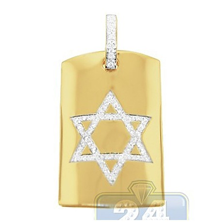 Mens Diamond Star of David Dog Tag Pendant 14K Yellow Gold 0.66ct