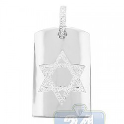 14K White Gold 0.66 ct Diamond Star of David Tag Pendant