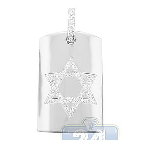Mens Diamond Star of David Dog Tag Pendant 14K White Gold 0.66ct