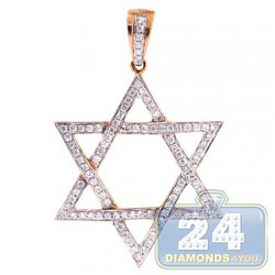14K Rose Gold 0.42 ct Diamond Star of David Jewish Pendant