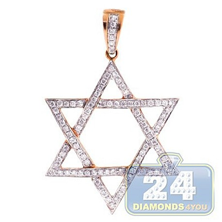 Mens Diamond Star of David Jewish Pendant 14K Rose Gold 0.42ct