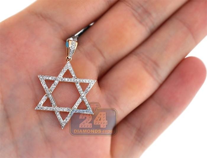Mens diamond star of david jewish pendant 14k rose gold 042ct aloadofball Images