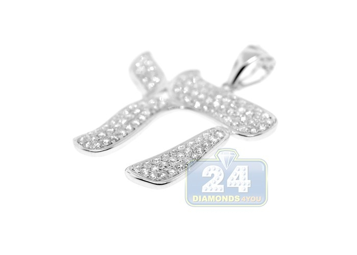 Mens Diamond Chai Symbol Jewish Pendant 14k White Gold 136ct